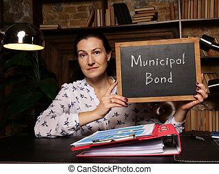 empresa / negocio, bono, municipal, significado, frase, concepto, chalkboard.