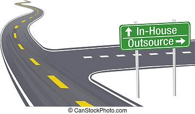 empresa / negocio, cadena, suministro, decisión, outsource, inhouse