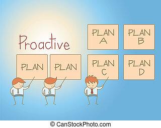 empresa / negocio, carácter, solución, plan, caricatura, proactive, hombre