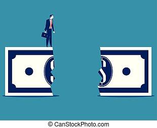empresa / negocio, chasm., hombre de negocios, vector, concepto, financiero, illustration.