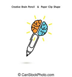 empresa / negocio, clip, concept., logotipo, creativo, cerebro, ideas, signo., diseño, lápiz, concepto, inspiration., educación