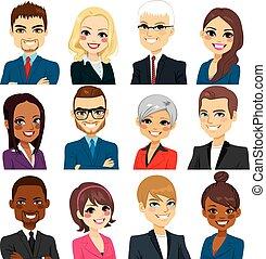 empresa / negocio, colección, gente, avatar, conjunto
