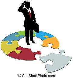 empresa / negocio, desconcertado, perdido, solución, preguntas, pedazo, hombre