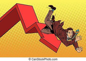 empresa / negocio, desplome, macho, ruina, otoño, financiero