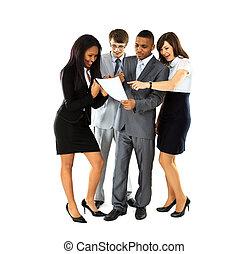 empresa / negocio, durante, longitud, interrupción, discutir, oficina, exitoso, lleno, profesionales