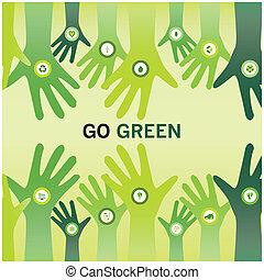 empresa / negocio, eco, amistoso, aplausos, verde, manos, ir, mundo, sostenible, o