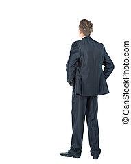 empresa / negocio, encima, -, espalda, mirar, algo, plano de fondo, blanco, hombre