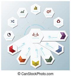 empresa / negocio, forma, infographic, diseño, plantilla, geométrico, hexágono