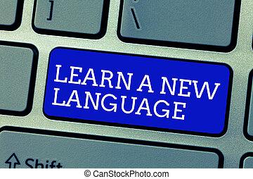empresa / negocio, foto, actuación, aprender, language., escritura, conceptual, otro, estudio, palabras, madre, showcasing, nuevo, lengua, mano, que, nativo