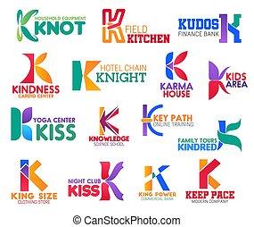 empresa / negocio, identidad, k, iconos, carta, corporativo
