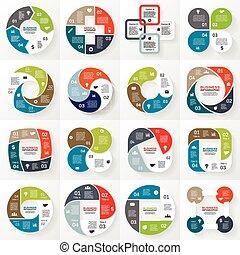 empresa / negocio, infographic, diagrama, 4, círculo, opciones