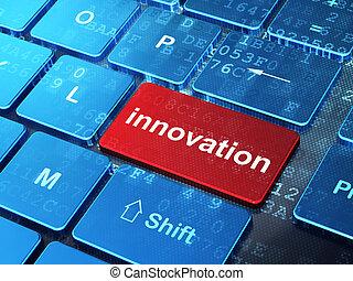 empresa / negocio, innovación, computadora, plano de fondo, teclado, concept: