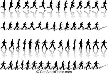empresa / negocio, lazos, caminata, potencia, hombre, marco, corra, y, secuencia