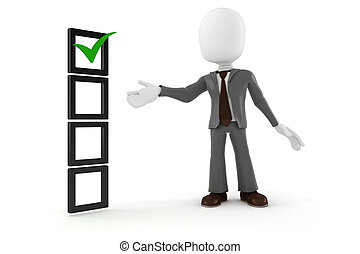 empresa / negocio, lista, plano de fondo, blanco, hombre, cheque, 3d