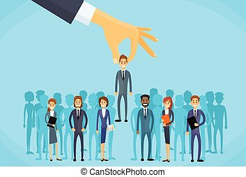 empresa / negocio, mano, escoger, candidato, reclutamiento, persona