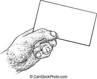 empresa / negocio, mensaje, tenencia de la mano, tarjeta, aviador, carta