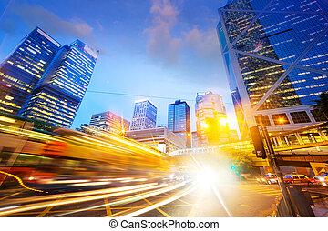 empresa / negocio, moderno, tráfico, ciudad, senderos, luz