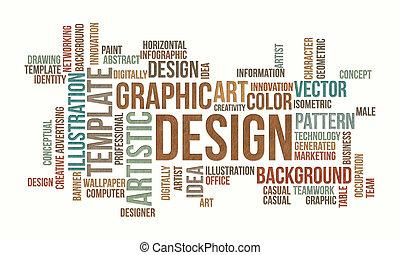 empresa / negocio, nube, diseño, gráfico, palabra, plano de fondo, concepto