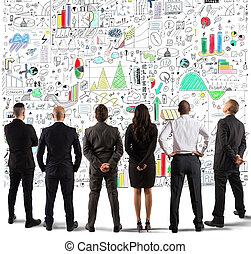empresa / negocio, nuevo, dibujo, proyecto, complejo, equipo