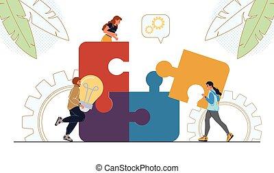 empresa / negocio, poniendo común, pedazo, gente, rompecabezas, conectar