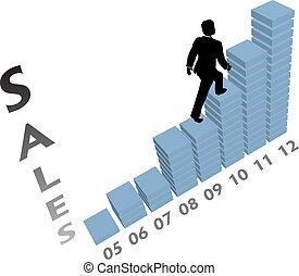 empresa / negocio, subidas, mercadotecnia, arriba, gráfico, persona, ventas