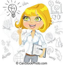 empresa / negocio, tableta, idea, plano de fondo, doodles, niña, electrónico, inspiración
