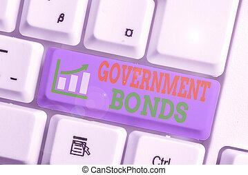empresa / negocio, texto, palabra, apoyo, deuda, gobierno, concepto, spending., seguridad, bonds., escritura, issued