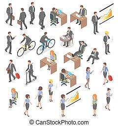 empresa / negocio, vector, conjunto, personas., isométrico