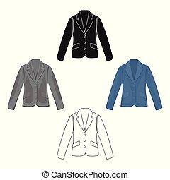 empresa / negocio, vector, icono, móvil, tela, chaqueta, ilustración