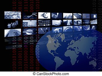 Empresariales, mapa mundial, pantalla múltiple