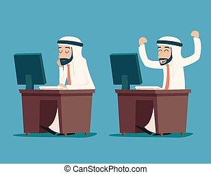 Empresario árabe de escritorio trabajando en personajes de dibujos animados con estilo ilustración de vectores retro de diseño