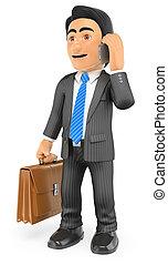 Empresario 3D con su maletín hablando por teléfono