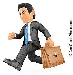 Empresario 3D corriendo con su maletín