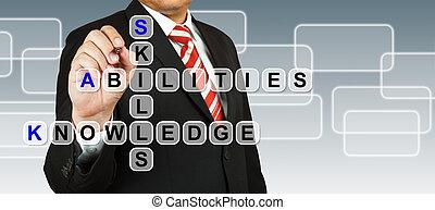 Empresario con habilidades de palabra, habilidades y conocimiento