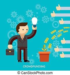 Empresario con una gran idea siendo financiado por la multitud