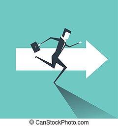 Empresario corriendo en las flechas hacia el objetivo del éxito profesional.