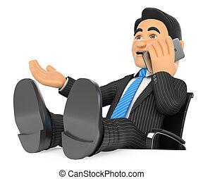 Empresario de 3D hablando por teléfono móvil con los pies en alto