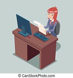 Empresario de escritorio trabajando en personajes de dibujos animados de icono ilustración de vectores de diseño retro
