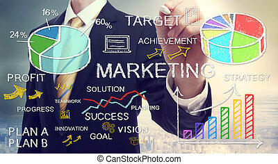 Empresario dibujando conceptos de marketing