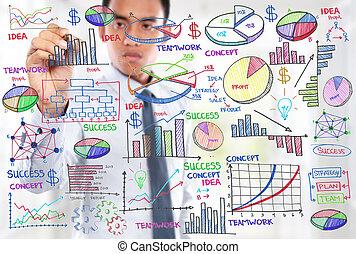 Empresario dibujando el concepto de negocio moderno