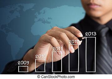 Empresario dibujando gráfico de crecimiento