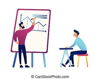 Empresario dibujando gráficos de análisis de negocios y empresarios en ilustración de vectores de escritorio.