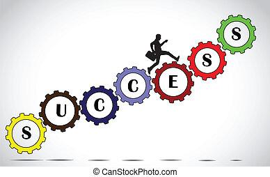 Empresario en marchas de éxito