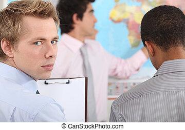 Empresario en un entrenamiento profesional