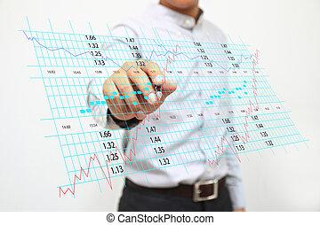 Empresario escribiendo un gráfico de bolsa.