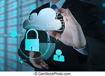 Empresario muestra icono de nubes 3D con candado como concepto de negocio de seguridad en internet