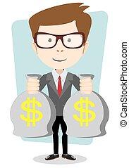 Empresario o banquero con una bolsa de oro en efectivo. Ilustración de vectores