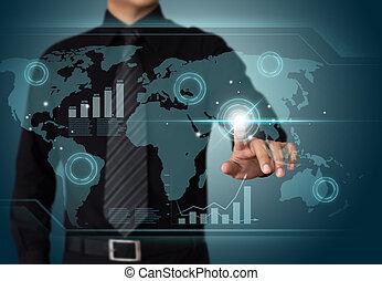 Empresario trabajando con tecnología de pantalla táctil