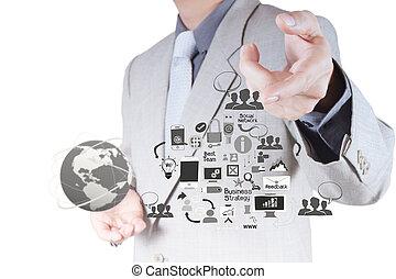 Empresario trabajando con una nueva computadora moderna muestra estructura social