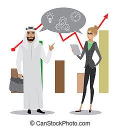 Empresario y mujer de negocios diferentes naciones discutiendo el análisis del mercado